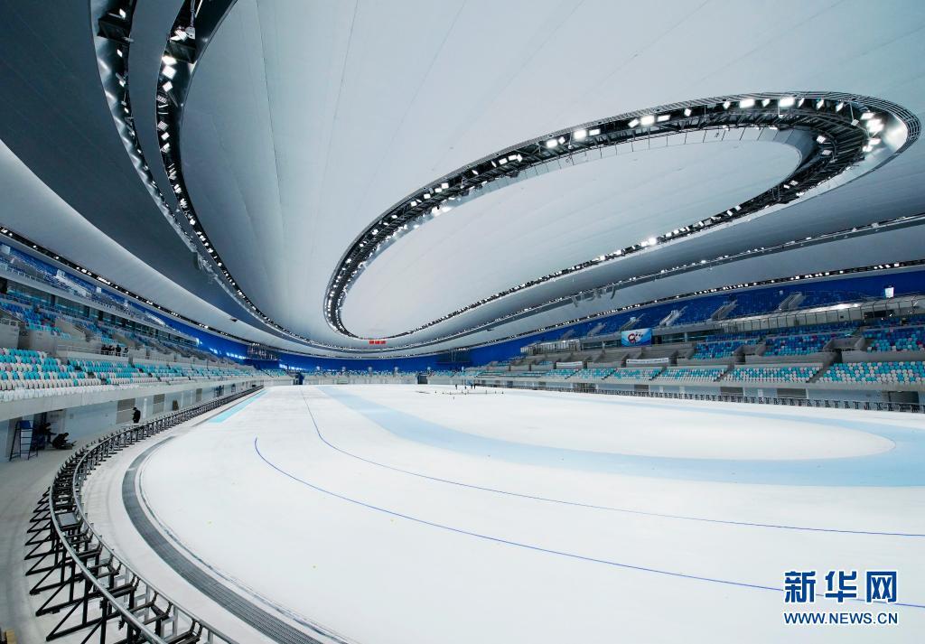 """约1.2万平方米全冰面首次在""""冰丝带""""亮相[组图]"""